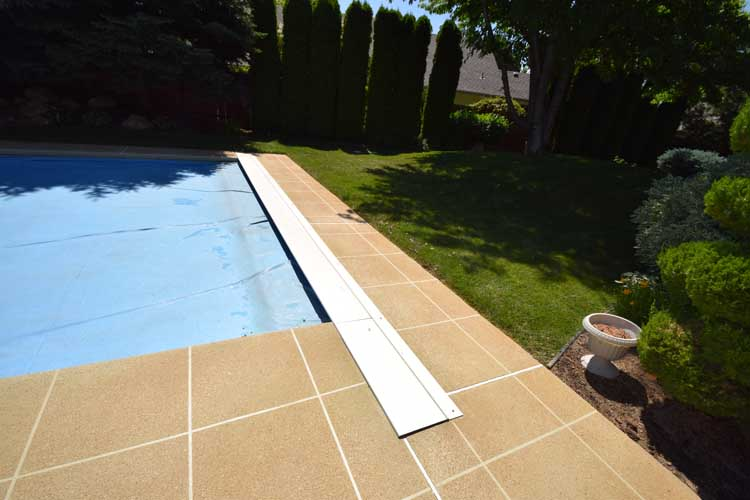 concrete pool deck overlay surface with custom texture and colors