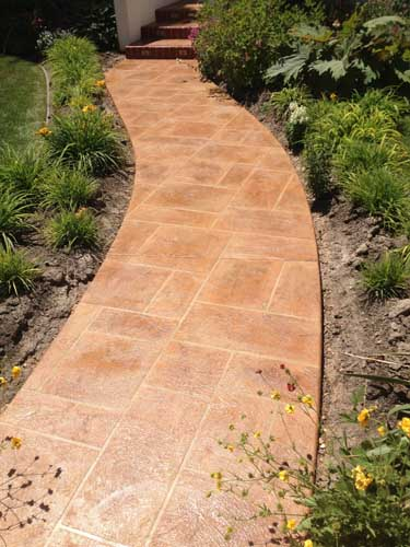 Walkway concrete overlay resurface with custom design and colors