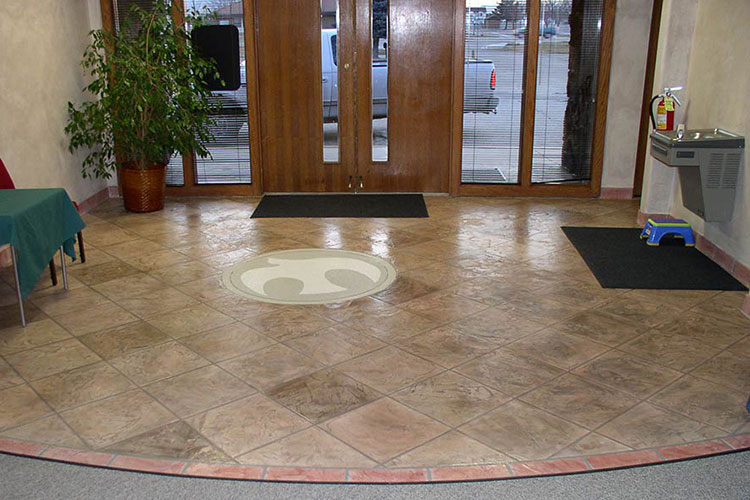 Interior concrete overlay resurface with custom design and color