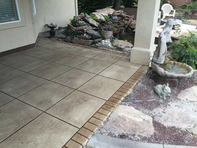 concrete patio overlay surface with custom texture and colors